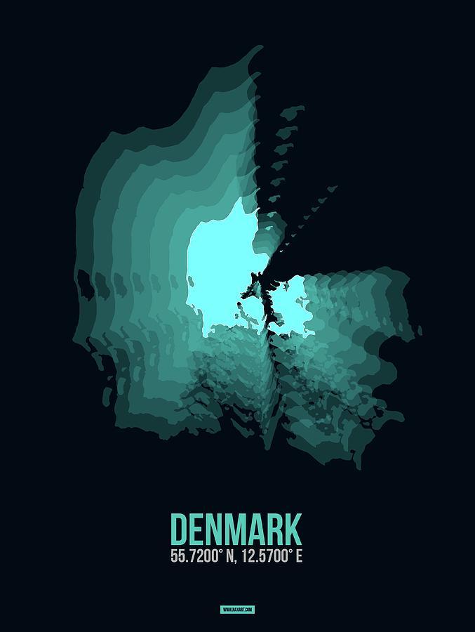 Map Of Denmark Digital Art - Denmark Radiant Map II by Naxart Studio