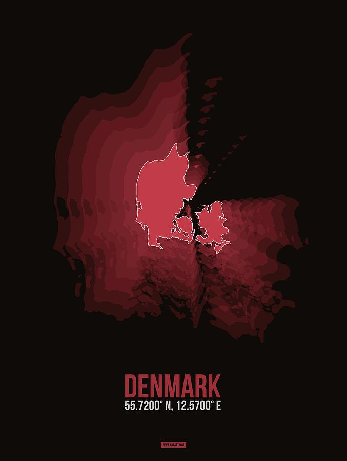 Map Of Denmark Digital Art - Denmark Radiant Map III by Naxart Studio