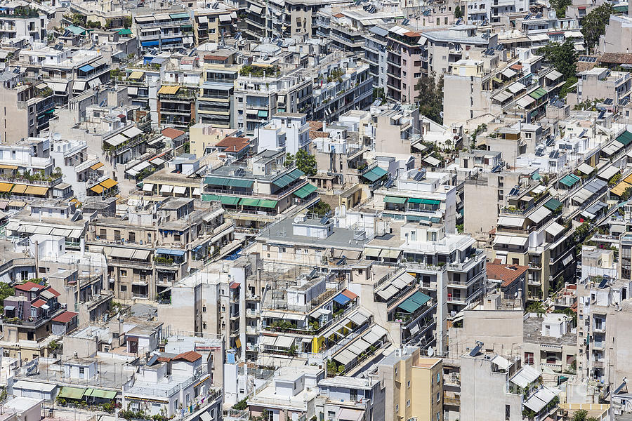 Panoramic Photograph - Dense Urban Areas In Athens, Greece by Anastasios71