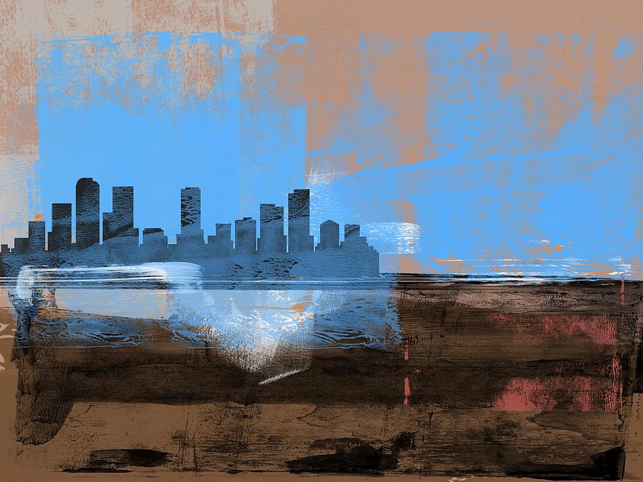Denver Mixed Media - Denver Abstract Skyline I by Naxart Studio