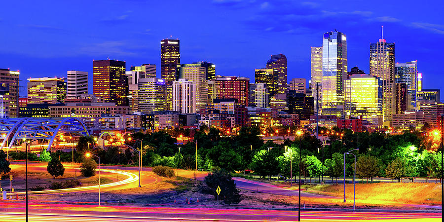 Denver Colorado Skyline In Vivid Color Panorama Photograph