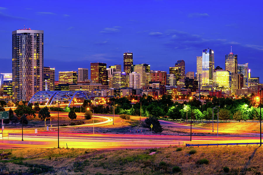 Denver Colorful Skyline At Dawn Photograph