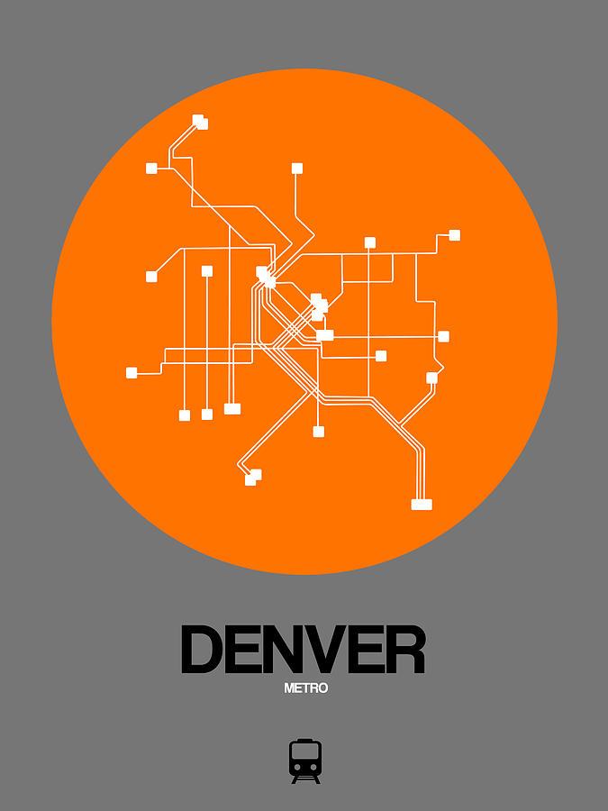 Vacation Digital Art - Denver Orange Subway Map by Naxart Studio