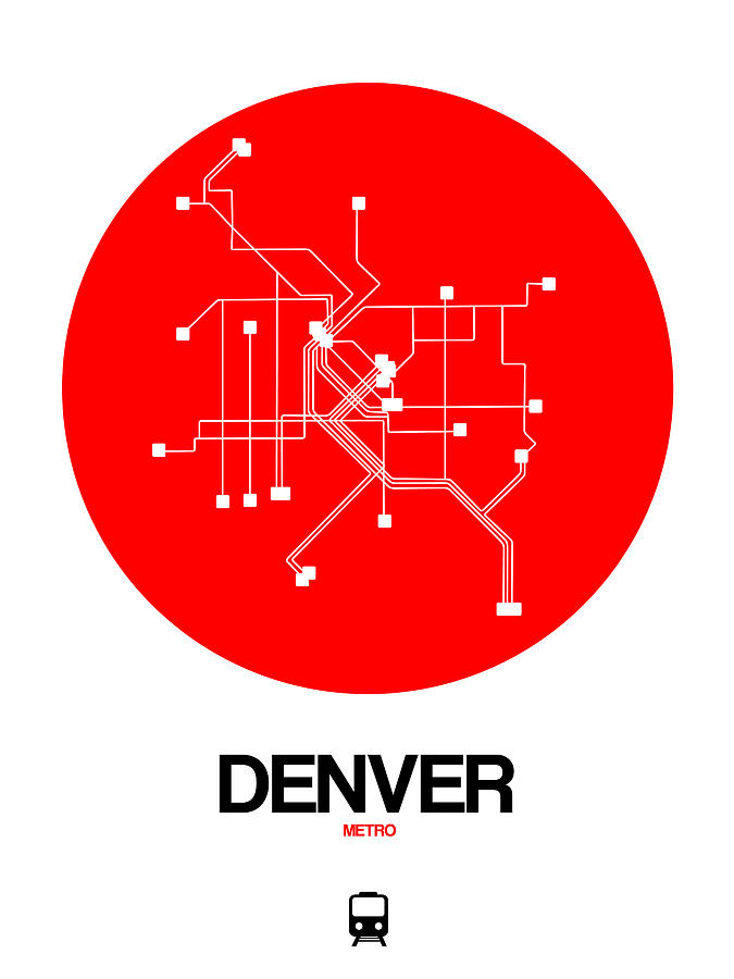 Vacation Digital Art - Denver Red Subway Map by Naxart Studio