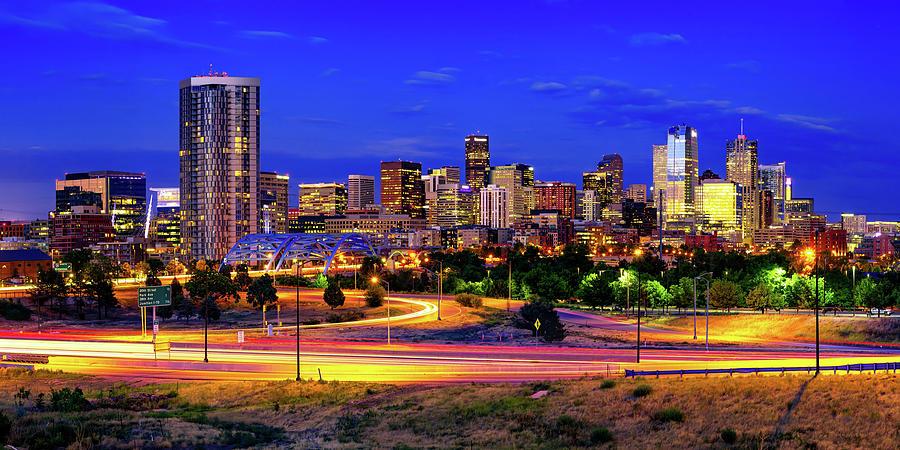 Denver Skyline And Speer Boulevard Bridge Panorama Photograph