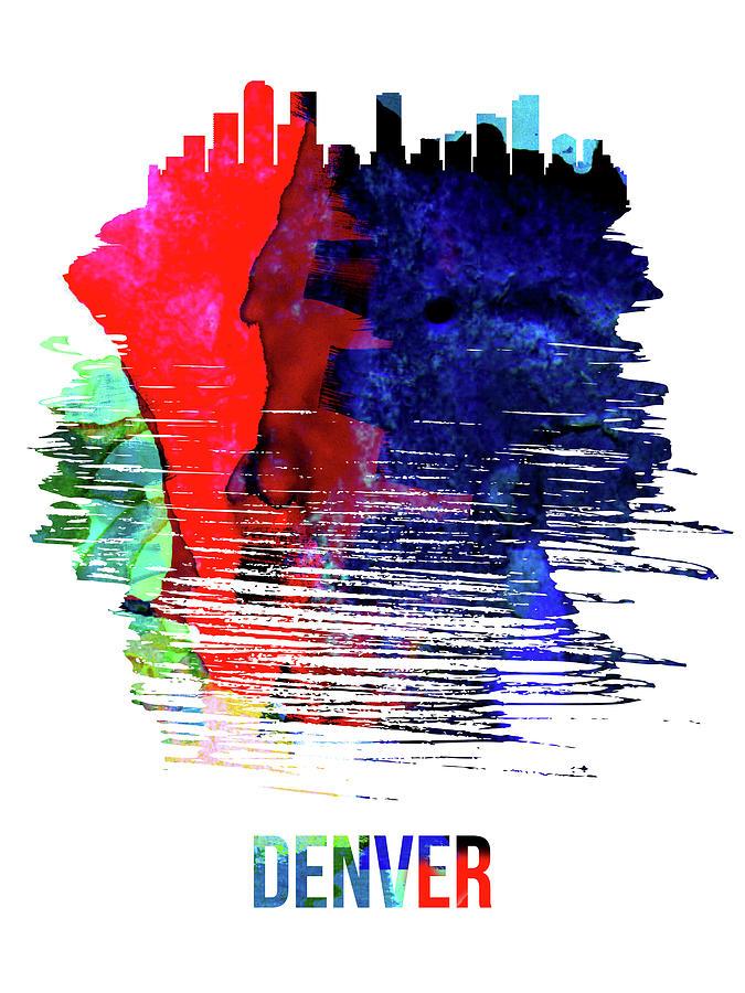 Denver Mixed Media - Denver Skyline Brush Stroke Watercolor   by Naxart Studio