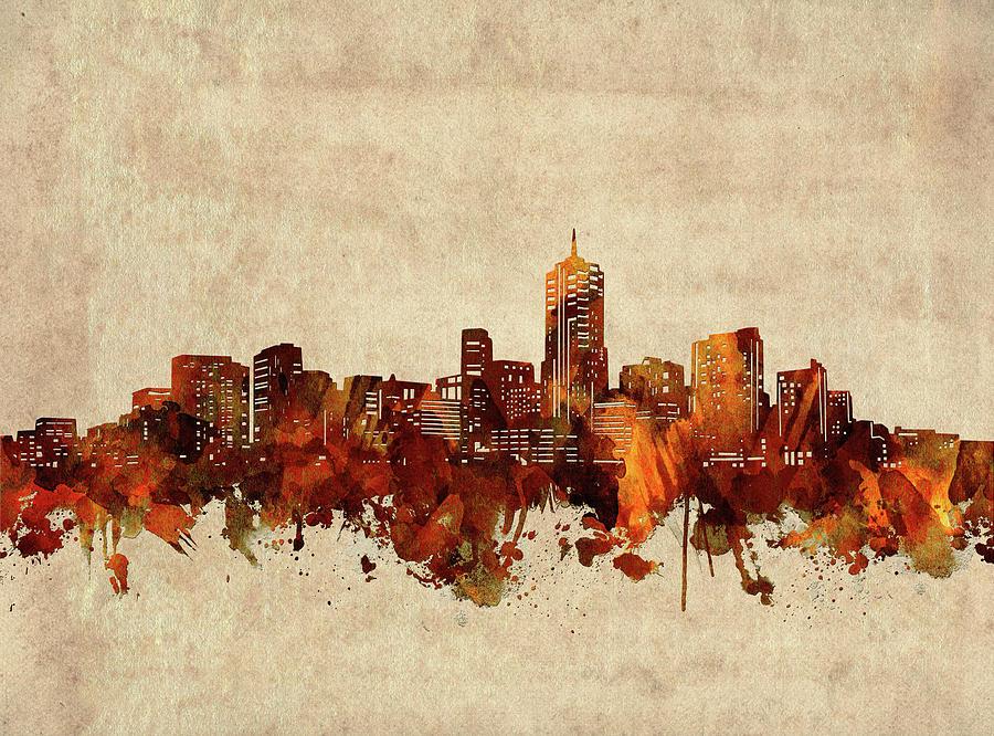 Denver Digital Art - Denver Skyline Sepia by Bekim M