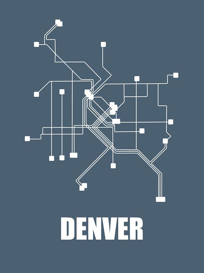 Denver Digital Art - Denver Subway Map by Naxart Studio