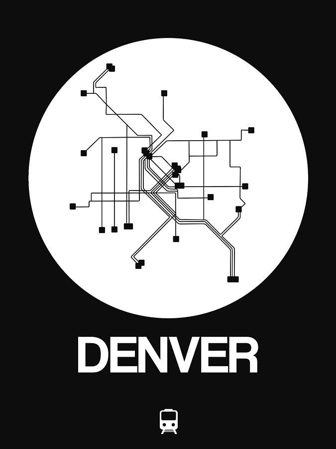 Vacation Digital Art - Denver White Subway Map by Naxart Studio