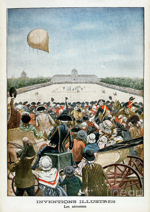 Departure Of A Balloon From Paris Drawing by Print Collector
