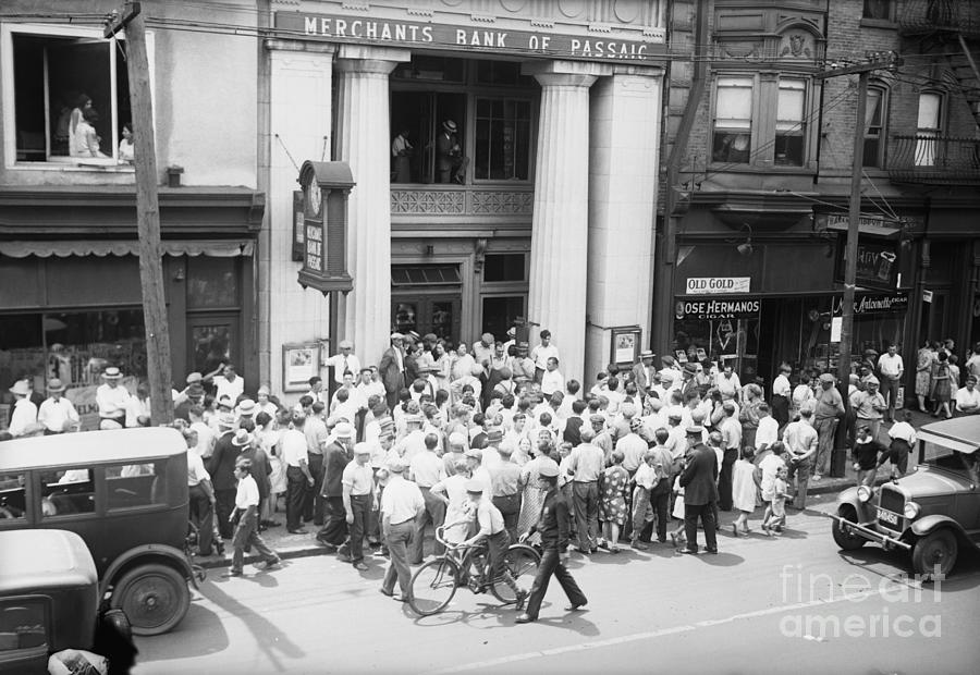 Depositors Crowd Outside Bank Photograph by Bettmann