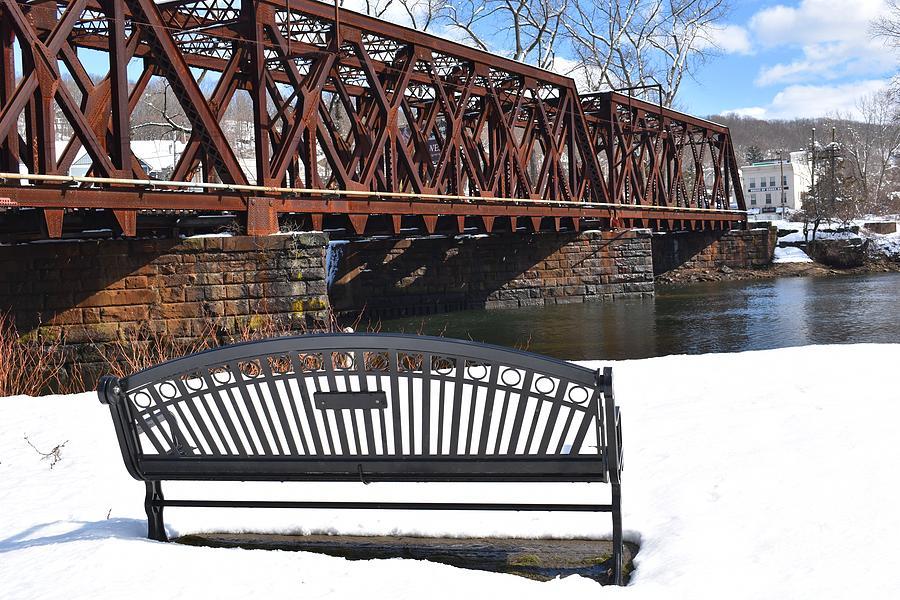 Derby Shelton Railroad Bridge in Winter by Nina Kindred
