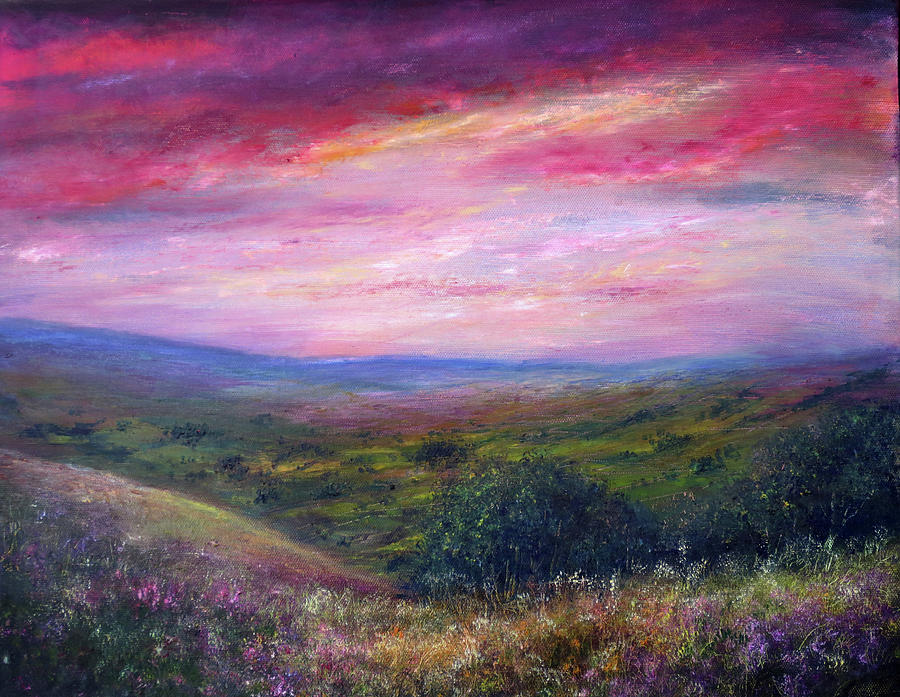 Hand Painted Painting - Derbyshire Skies by Ann Marie Bone