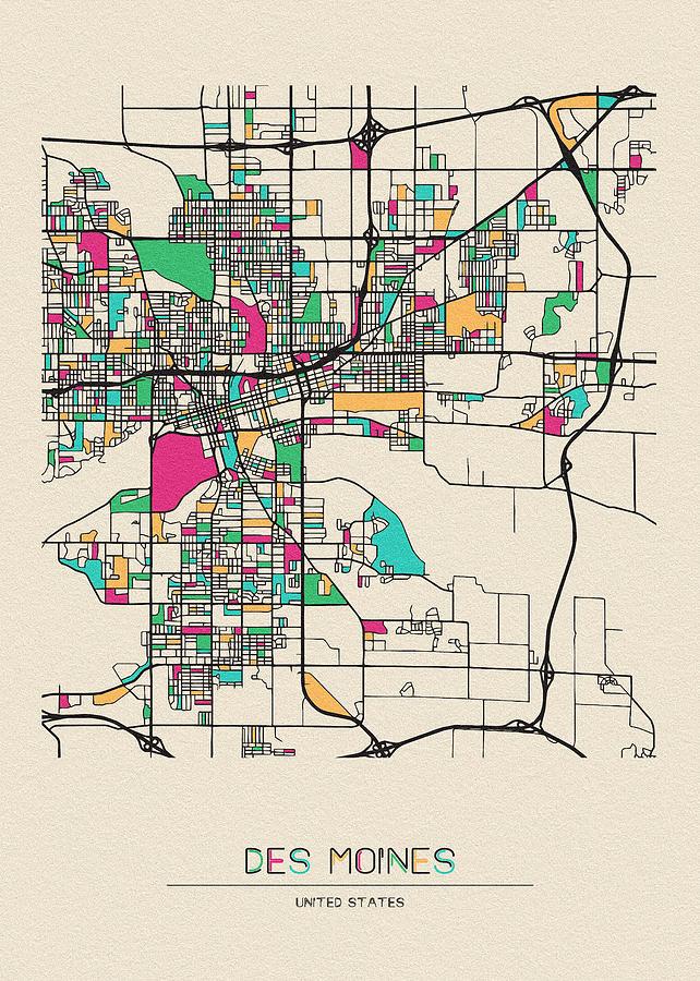 Des Moines, Iowa City Map