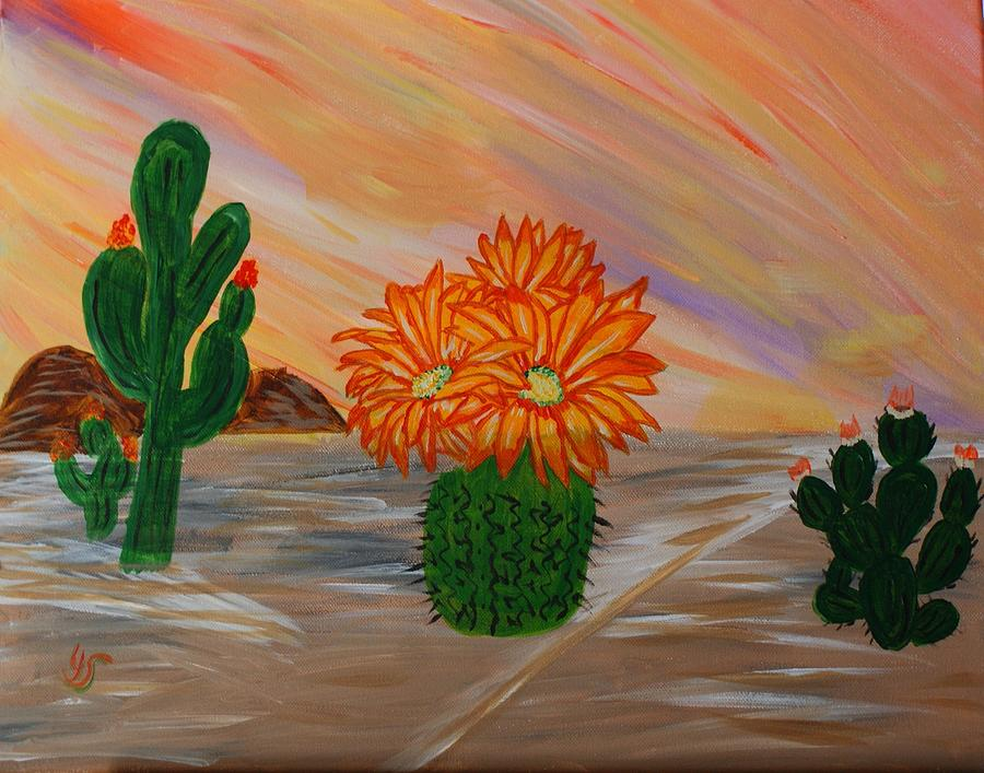 Cactus Painting - Desert Blooms by Yvonne Sewell