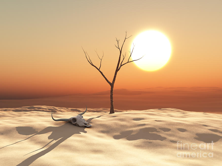 Sunrise Digital Art - Desert Landscape by Esteban De Armas