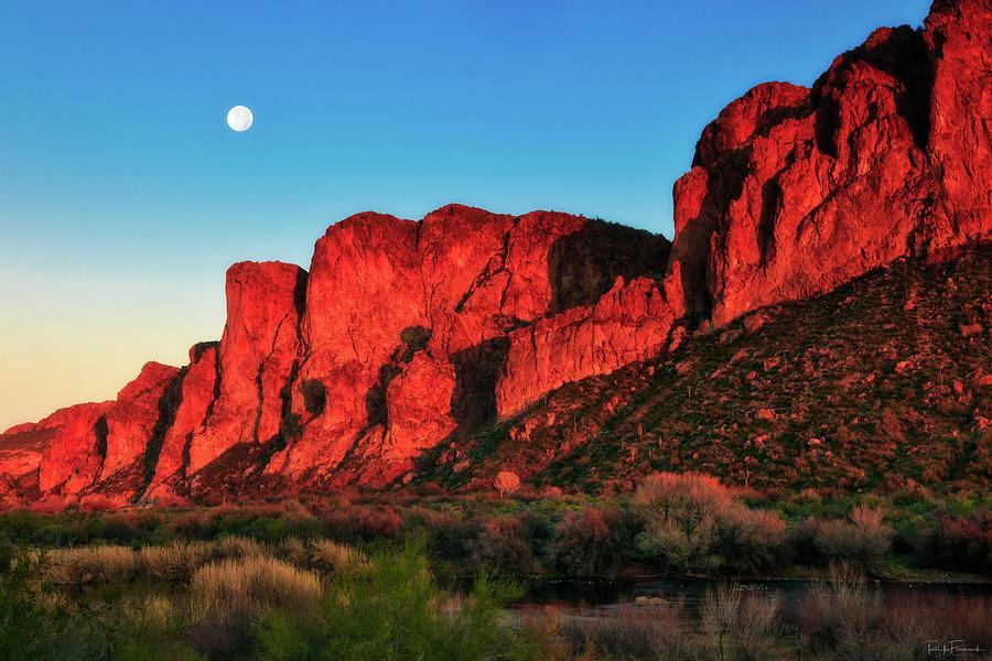 Desert Moonrise Over the Goldfield Mountains by Rick Furmanek