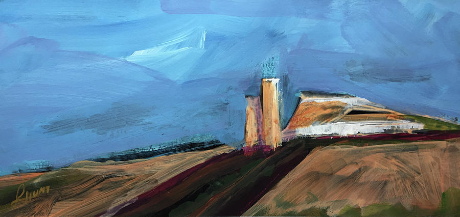 Landscape Painting - Desert Sentinels Stone Towers On Mesa By Laura Hunt by Laura Hunt