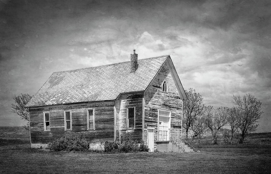 Deserted House South Dakota BW by Joan Carroll