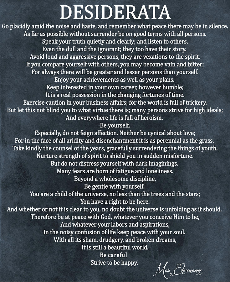 Desiderata Poem Mixed Media - Desiderata Blue Canvas Original by Dan Sproul