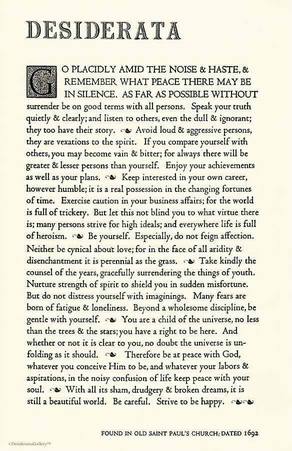 Desiderata Drawing - Desiderata Poem By Max Ehrmann Classic Ivory Design by Desiderata Gallery