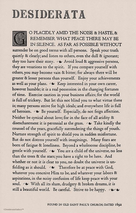 Desiderata Poem by Max Ehrmann Classic Tan/Taupe Classic Design by Desiderata Gallery