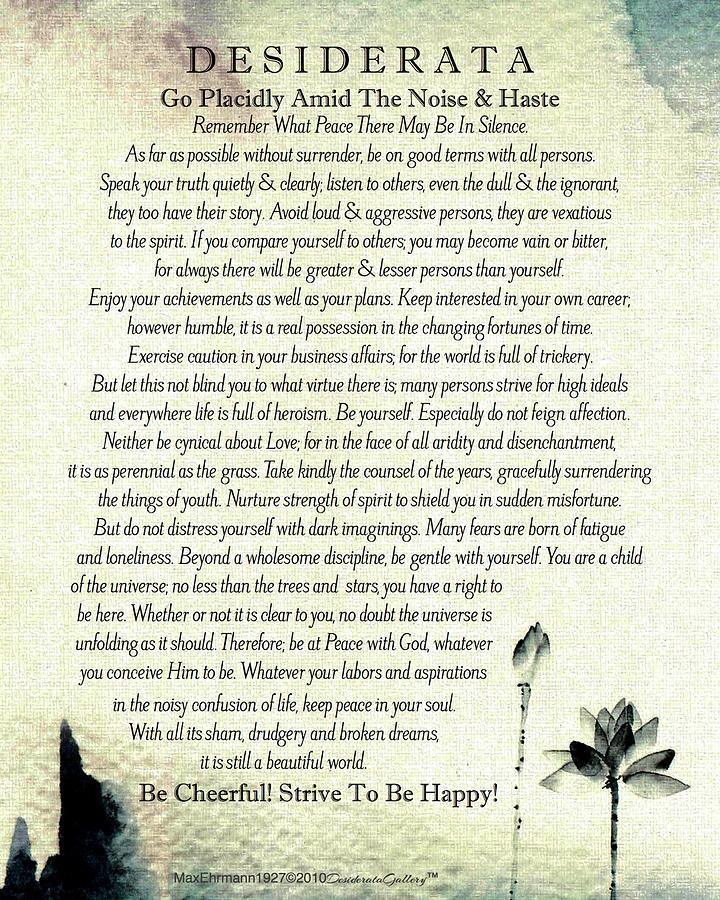 Desiderata Poem by Max Ehrmann Classic Water Color Lotus Design by Desiderata Gallery