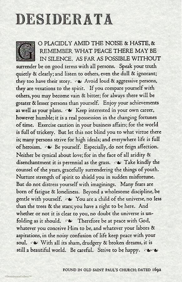 Desiderata Poem by Max Ehrmann Original Design on Gray Parchment by Desiderata Gallery