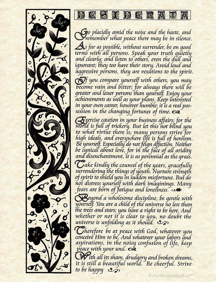 Desiderata Poem from Original Calligraphy On Parchment by Desiderata Gallery