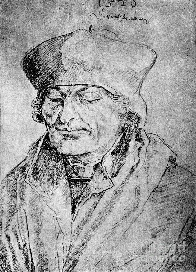 Desiderius Erasmus, 1520, 1936. Artist Drawing by Print Collector