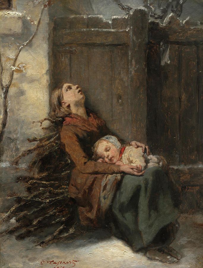 Octave Painting - Destitute Dead Mother Holding Her Sleeping Child In Winter, 1850 by Octave Tassaert