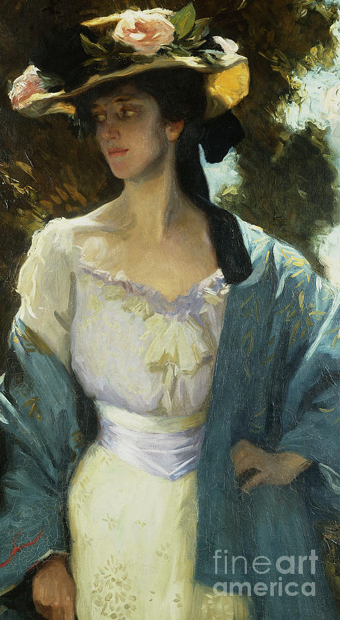 Hat Painting - Detail From A Portrait Of Frances Josephine Furse, The Artists Sister-in-law Wearing A Blue Jacket by Charles Wellington Furse