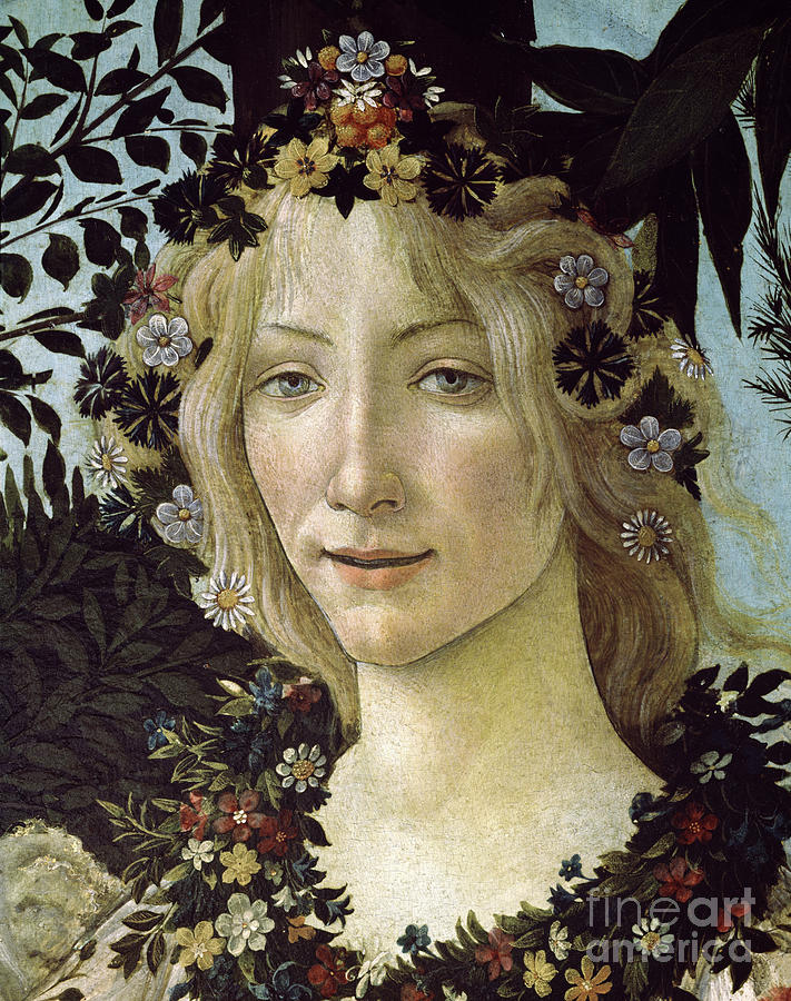 Head Painting - Detail From The Primavera, Circa 1478, Tempera On Panel by Sandro Botticelli