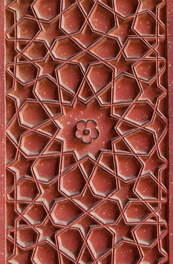 Detail Of Carvings On Wall In Agra Fort Photograph by Inti St. Clair