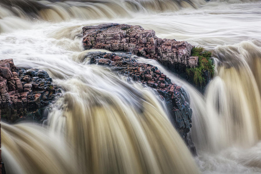 Detail of Falls Park Water Falls in Sioux Falls South Dakota by Randall Nyhof