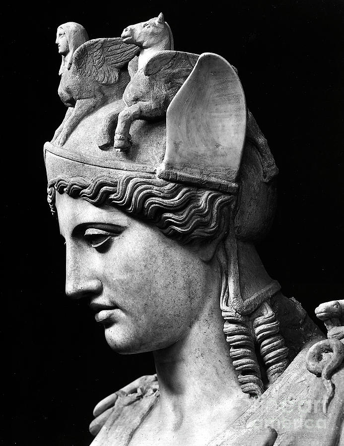 Phidias Sculpture - Detail Of The Face Of Athena Farnese by Phidias