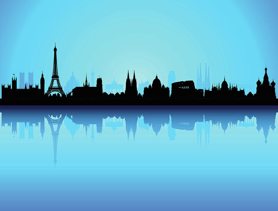 Detailed Europe Skyline Each Building Digital Art by Leontura