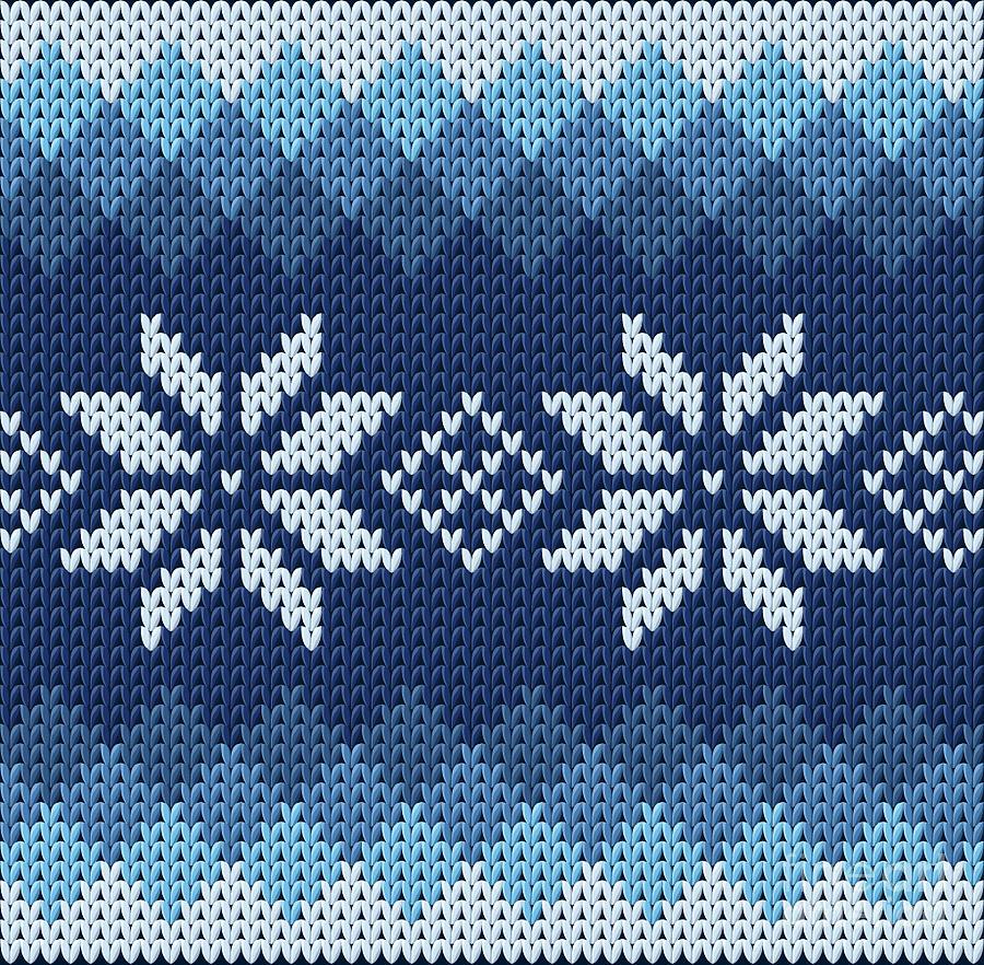 Dress Digital Art - Detailed Knitted Blue Jacquard Pattern by Anna.zabella