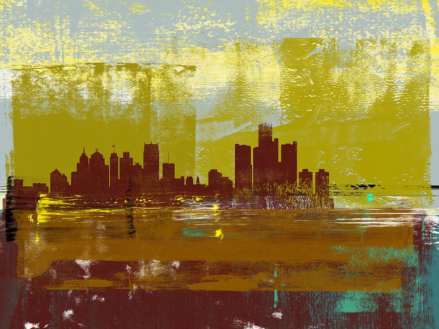 Detroit Mixed Media - Detroit Abstract Skyline I by Naxart Studio