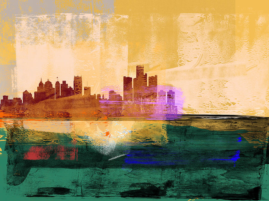 Detroit Mixed Media - Detroit Abstract Skyline II by Naxart Studio