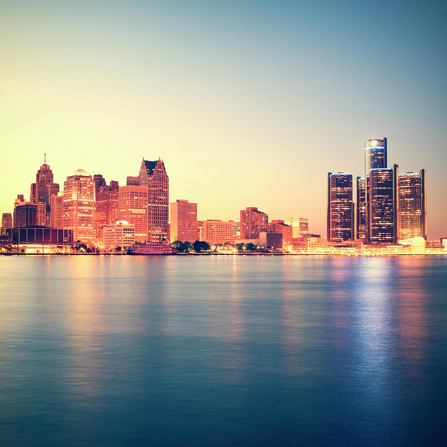 Detroit At Sunset Photograph by Espiegle