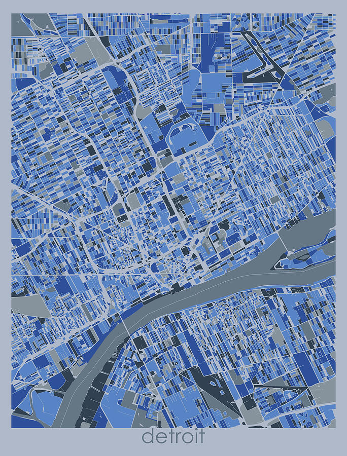 Detroit Digital Art - Detroit Map Retro 5 by Bekim M