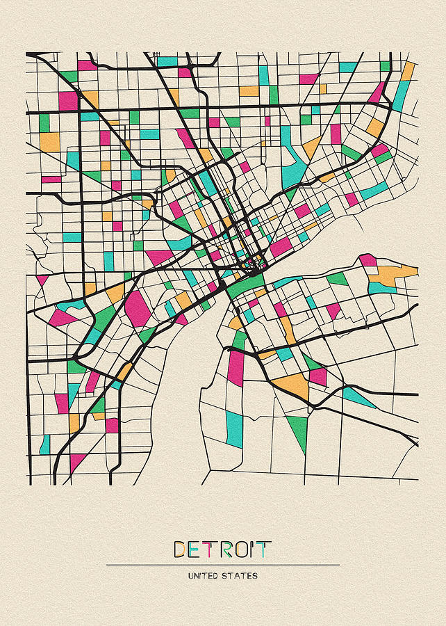 Detroit Drawing - Detroit, Michigan City Map by Inspirowl Design