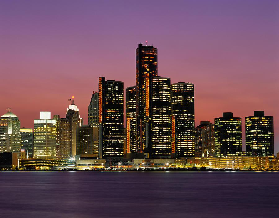Detroit, Michigan Skyline At Night Photograph by Robert Glusic
