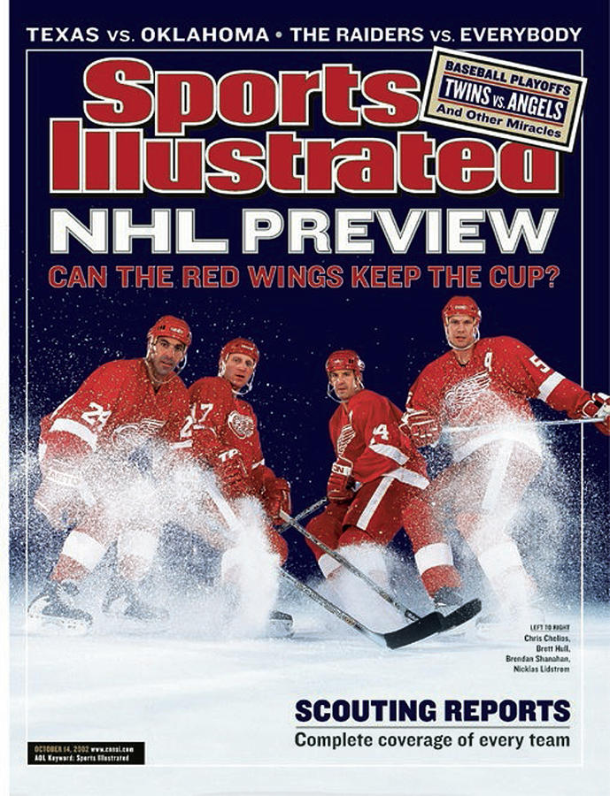 Detroit Red Wings Chris Chelios, Brett Hull, Brendan Sports Illustrated Cover Photograph by Sports Illustrated