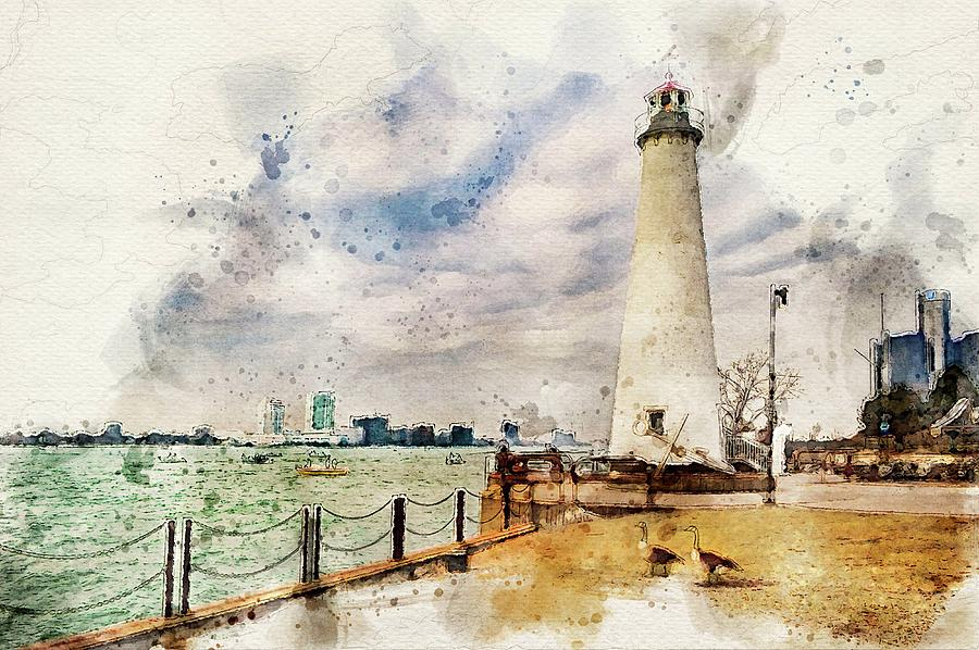 Detroit river Light House and Geese DSC_0096 Watercolored by Michael Thomas