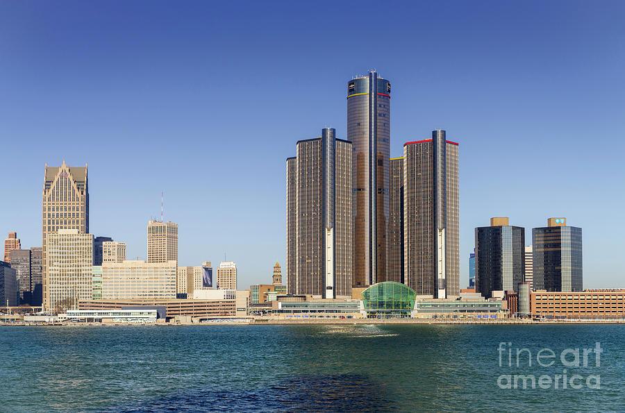 Detroit Skyline And Riverfront Photograph