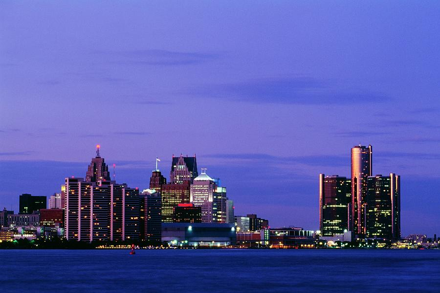 Detroit Skyline At Night In Usa Photograph by Design Pics