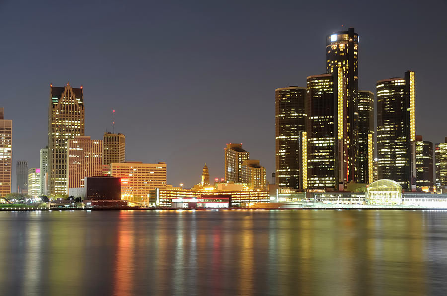 Detroit Skyline At Night Photograph by Rivernorthphotography