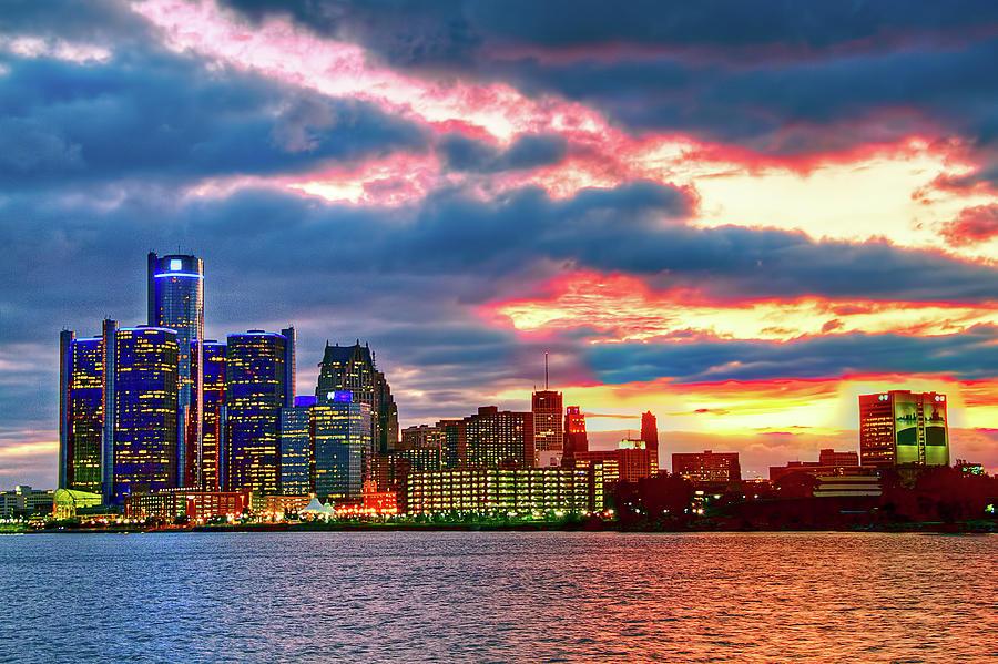 Detroit Skyline At Sunset Photograph by Joshua Bozarth